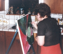 Painting in her Marin County kitchen during the 1980s