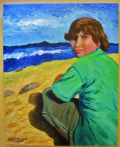 """Beach""Acrylics on canvas30"" x 24"" x 1.5""(SOLD)"