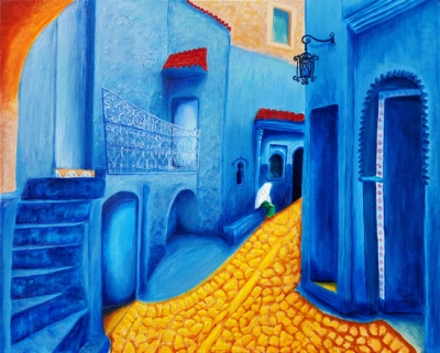 """Blue Morocco"" Oils on canvas 24""H x 30""W x 1.5""D"