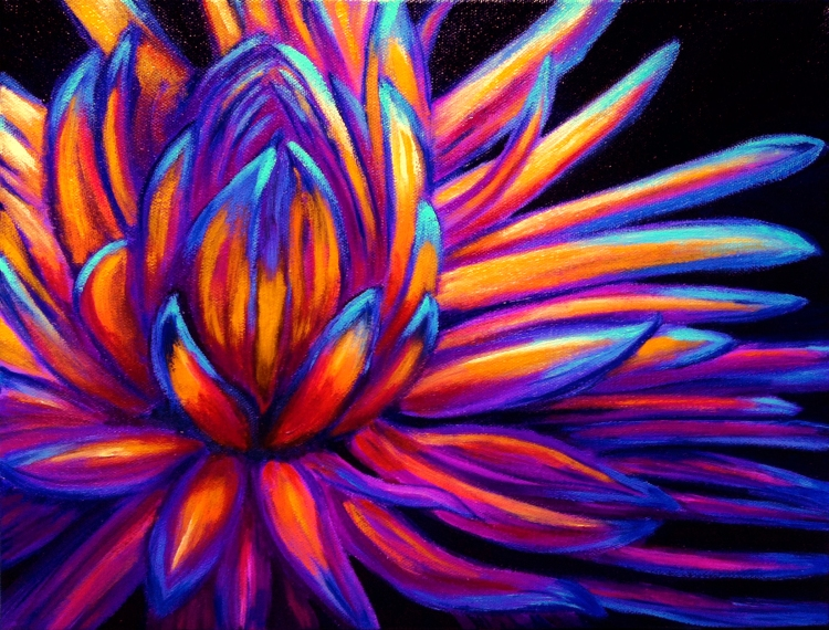 """""""Blue-tipped Flower""""Oils on canvas11"""" H x 14"""" W x 1.5"""" D"""