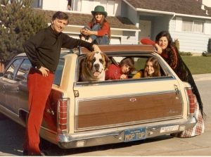 "The Linder family in the ""Mop Top"" station wagon"