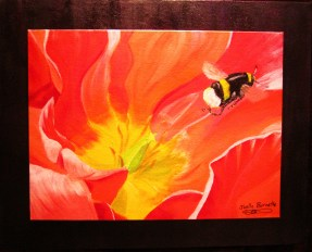 """Bee and Poppy Flower""Acrylic on double canvas16""H x 20""W x 0.5""D"