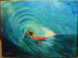 """Surfer""Acrylics on canvas30""H x 40""W x 1.5""D"