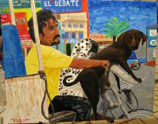 """Mexican Dogs Ride""Acrylic on canvas24""H x 30""W x 1.5""D"