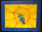 "SOLD""Blue Bug on Yellow Flower""Acrylic on double canvas16"" x 20"" x 0.5"""