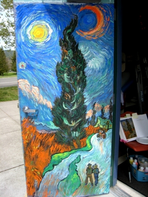 In preparation of the Van Gogh month, the kids had fun watching my painting progress on the door.