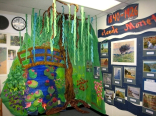 When the kids finished their art, they could read about artists under the Monet tree.