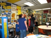 Students offer tours of my art classroom during open house. I didn't want to waste any opportunity to surround the kids with art (including the ceiling—perfect for Piet Mondrian)
