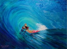 """Large Wave Surfer""Acrylics on canvas30""H x 40""W x 1.5""D"