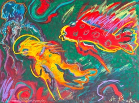 """Red and Yellow Fish"" Acrylics on canvas3' H x 4' W x 1.5"" D"