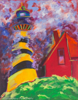 """Yellow Lighthouse"" Acrylics on canvas28"" H x 22"" W x 1.5"" D"