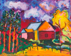 """A House in the Woods on the drive to Charleston"" Acrylics on canvas24"" H x 30"" W x 1.5"" D"