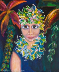 """Young Hawaii Girl"" Oils on canvas24"" H x 20"" W x 1.5"" D"