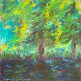 """Summer"" Oils on canvas12"" H x 12"" W x 1.5"" D"