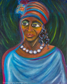 """Gullah Gospel Singer"" Oils on canvas30"" H x 24"" W x 1.5"" D"