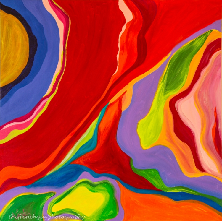 """""""Abstract Red"""" Acrylics on canvas 4' H x 4' W x 1.5"""" D"""