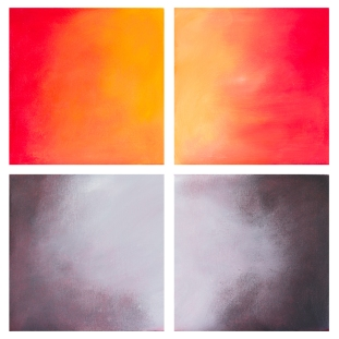 """""""Extreme Weather"""": """"July, August, December, January"""" Abstract seriesOils on canvas9"""" H x 9"""" W x 2.25"""" D"""