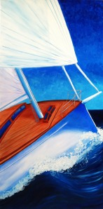 """Sailing""Oils on canvas48""H x 24""W x 0.75""D"