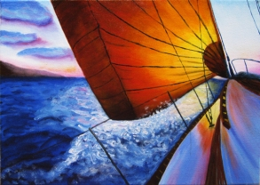 """Sunset Sailing""Oils on canvas12""H x 16""W x 0.75""D"