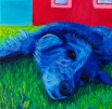 "SOLD: ""Blue Dog"" Acrylics on Canvas 12""H x 12""W x 1.5""D"