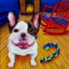 """SOLD: """"French Bulldog and Rocking Chair"""" Acrylics on Canvas 12""""H x 12""""W x 1.5""""D"""
