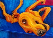 """Yellow Dog on Couch"" Acrylics on Canvas 11""H x 14""W x 1.5""D"