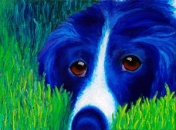 """Blue Dog in Grass"" Oil on Canvas 9""H x 12""W x 1.5""D"