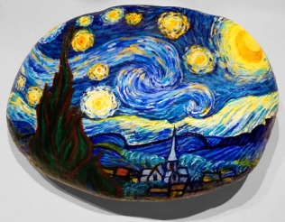 "Van Gogh's ""Starry Night"" on river rock"